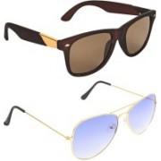 Zyaden Wayfarer, Aviator Sunglasses(Brown, Violet)