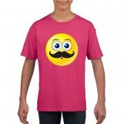 Bellatio Decorations Smiley t-shirt snor roze kinderen