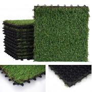 Grasfliese HWC-E13, Rasenfliese Grasmatte Kunstrasen, Balkon/Terrasse 11x je 30x30cm = 1qm ~ Variantenangebot