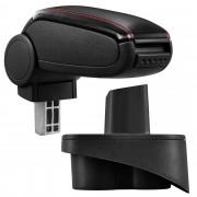 Подлакътник [pro.tec]® Mercedes Клас A W168 с контейнер за съхранение,еко кожа, черен, червен шев