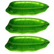aveon banana leaf melamine plates 16x10 set of 3