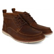 Clarks Kyston Mid Tan Nubuck Boots For Men(Brown)