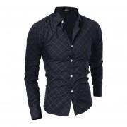 Modelo Del Diamante Cuello De Polo Manga Larga Camisa (Negro)
