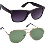 Glucksman Wayfarer, Aviator Sunglasses(Violet, Green)