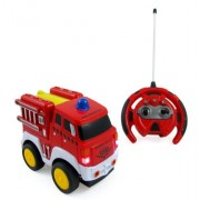 R/C Fire Engine Truck Radio Control Toy Car for kids with Steering Wheel Remote, Lights and Sounds