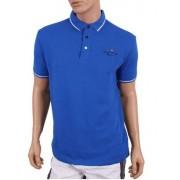 Nautica Стильная мужская футболка поло василькового цвета с полосками на воротнике и рукавах Nautica 618801