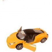 Die-Cast Imported Yellow 4 Wheel Drive Metal Car Pull Back with working Openable Doors Light and Music for Tail and Front Light Great Gift for Boys and Girls Above 3 Years