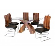 Holte Dining Table In Clear Glass Top With Walnut Effect Base - Dining Table With 6 Chairs