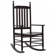 vidaXL Люлеещ се стол с извита седалка, кафяв, дърво