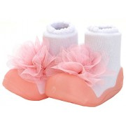 ATTIPAS Beautiful Soft Baby Girls Socks cum Shoes First Walking Booties - Infant Baby Girl Toddler Infant Footwear Prewalker Shoes, 6-30 Months (Pink)