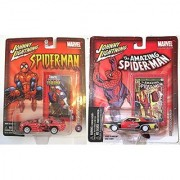 Spider-Man White Lightning Marvel 1973 Dodge Charger & 1999 Dodge Viper White Interior Wheels Johnny Lightning