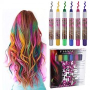 Philonext 6 Colorful Hair Chalks Pen Set, Temporary Non-Toxic Portable Coloring, Works on All Colors, for Ages