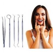 Dental Tool Set Kit Dentist Teeth Clean Hygiene Picks Mirror Scaler Dental Explorer Probe Oral Care 5 Pcs Stainless