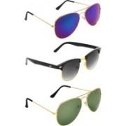 Zyaden Aviator, Clubmaster, Aviator Sunglasses(Blue, Black, Green)
