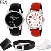 GUG WBSNC-2 Pack Of 2 Analogue Wrist Watches For Men And Boys With Fashion Accessories