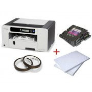 PACHET SUBLIMARE 2: Imprimanta sublimare RICOH SG3110DN+4 cartuse cerneala+Hartie sublimare A4+Banda termorezistenta