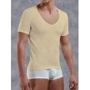 Doreanse Облегающая мужская футболка бежевого цвета с глубоким вырезом Doreanse City 2820c09