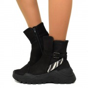 Sneakers Donna Chunky con Zip in Pelle Neri Made in Italy T: 37, 38, 39, 40