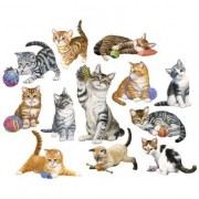 Bits and Pieces - Set of Twelve (12) Mini Jigsaw Puzzles - Kittens by the Dozen - 250 pc Cat Puzzle Collection by Artist Jack Williams