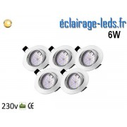 Kit 5 Spots LED GU10 Blanc Chaud encastrable blanc orientable Perçage 70mm Ref Kgu10-10