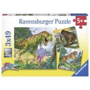 Puzzle dinozauri, 3x49 piese