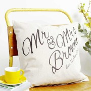 Mr and Mrs Cursive Personalized Surname Single Cushion