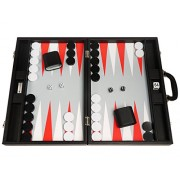 19 Inch Premium Backgammon Set Large Size Black Board, White And Scarlet Red Points