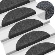 vidaXL 15 db sötétszürke, öntapadós lépcsőszőnyeg 54 x 16 x 4 cm