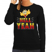 Bellatio Decorations Funny emoticon sweater Hell yeah zwart dames