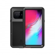 LOVE MEI Dust-proof Shock-proof Splash-proof Defender Phone Casing with Tempered Glass for Samsung Galaxy S10 5G - Black