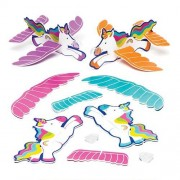 Rainbow Unicorn Gliders - 8 Paper Covered Toy Gliders In 4 Designs. Foam Glider Party Bag Fillers. Size 17cm.