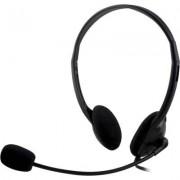 Deltaco headset, volymkontroll på kabeln, 2m kabel - Svart