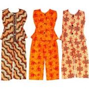 Wajbee Sassy Girls Cotton Night Suit Set of 3