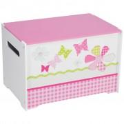 Worlds Apart Toy Box Patchwork 60x39x39 cm Pink WORL230004