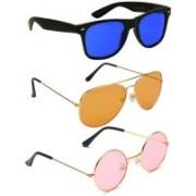 Elligator Aviator, Round, Wayfarer Sunglasses(Blue, Orange, Pink)