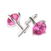 Mousie Bean Crystal Cufflinks CZ Round 147 Pink