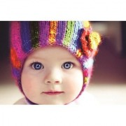 EJA Art Cute Baby Colorful Cap Without Frame Paper Poster Size 30X45 cms (With 12 Butterfly Free)