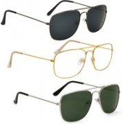 Phenomenal Retro Square Sunglasses(Black, Clear, Green)