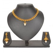 Pourni Pearl Golden finish Necklace Earring Set - PRNK92
