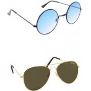 Benour Round, Aviator Sunglasses(Blue, Green)