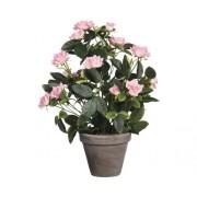 Floare artificiala, trandafir in ghiveci, roz