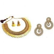 Jewels Gold Alloy Golden Plated Traditional Designer JG-NC7589 2 Earring Set Necklace Set