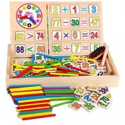 40PCS Wooden Number Sticks + 100PCS Bricks Blocks Mathematics Material Educational Toy + Mushroom Teaching Clock Time Learning for Kid Child Maths Early Education Learning