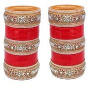 Lucky Jewellery Red Designer White Kundan Red & Golden Stone Bridal Chuda Fashion Punjabi Choora Wedding Chura Set