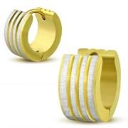 Arany és ezüst színű, bordázott mintás nemesacél fülbevaló
