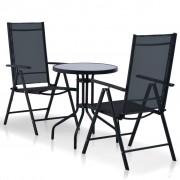 vidaXL Set mobilier de exterior, 3 piese, aluminiu și textilenă, negru
