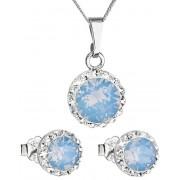 Evolution Group Třpytivá souprava šperků 39152.7 blue opal (náušnice, řetízek, přívěsek)