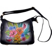 Niyaro High quality leather Hand painted by artists Waterproof Sling Bag(Multicolor, 4 L)