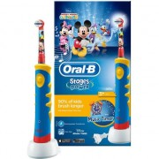 Periuta de dinti electrica Oral-B Mickey Mouse pentru copii, 5600 oscilatii/min, Curatare 2D, 1 program, 1 capat, Cronometru muzical, Rosu/Albastru