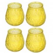 Merkloos 4x Stuks citrus geurkaars in glazen houder geel